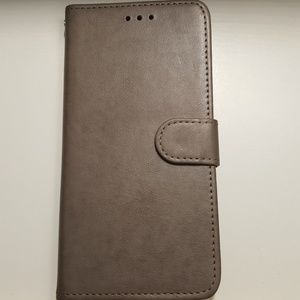 "Wallet case for iphone xs max 6.5""gray leather new"